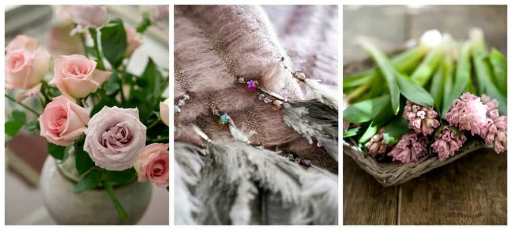 3 close up images of flowers, feathers and a blanket