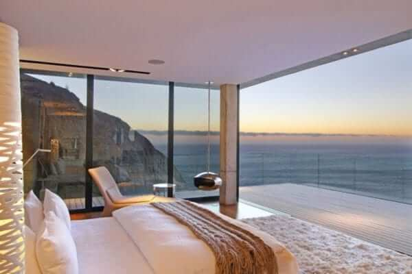 Coastal interior bedroom with styled into a sophisticated seaside space