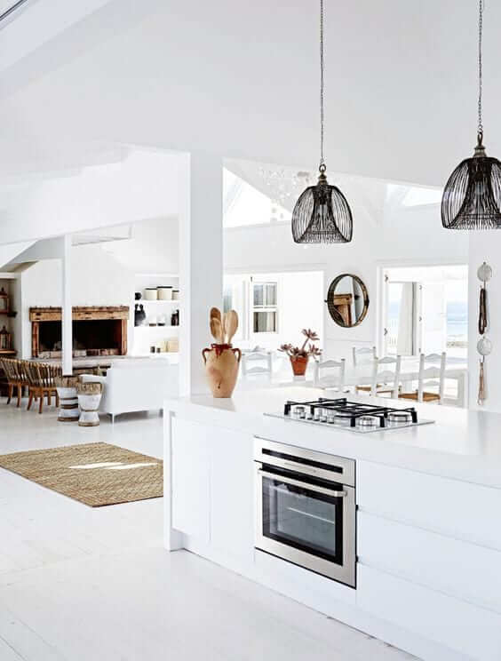 Open living spaces in coastal homes