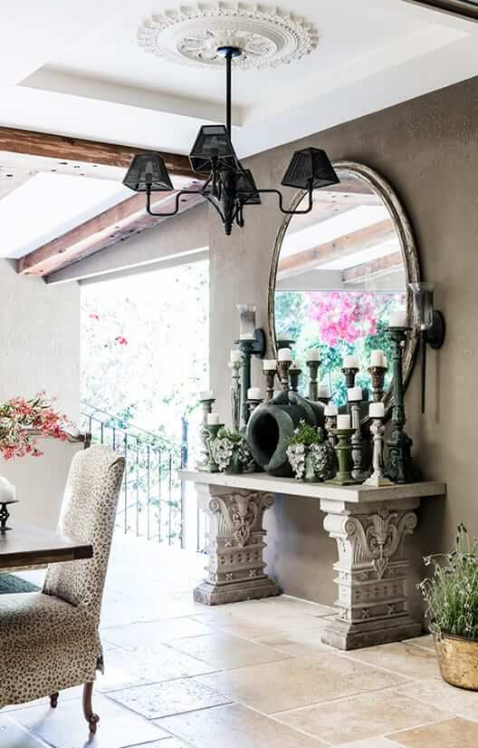 Mirrors and lighting for an outdoor entertaining area