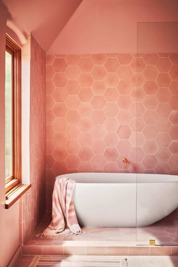 "Pantone Colour of the Year ""Living Coral"" bathroom inspiration"